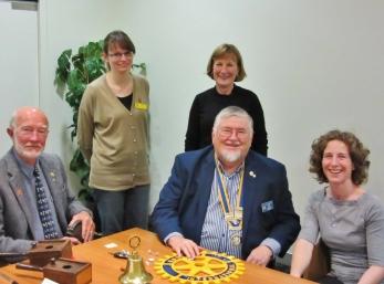 (L:R: Bob, Emma, Liz, Pres. Ian and our guest speaker, Adele Yates)